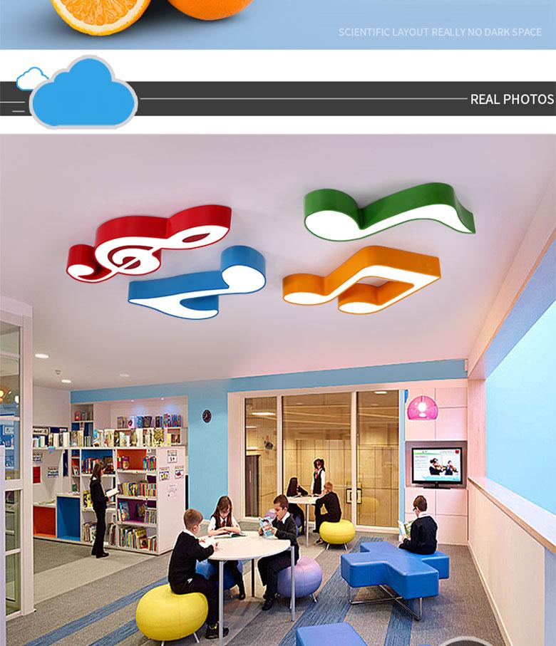 Moderne coloré fer enfants chambre LED plafond lumière luminaire maison déco chambre d'enfant note de musique acrylique gradation plafonnier