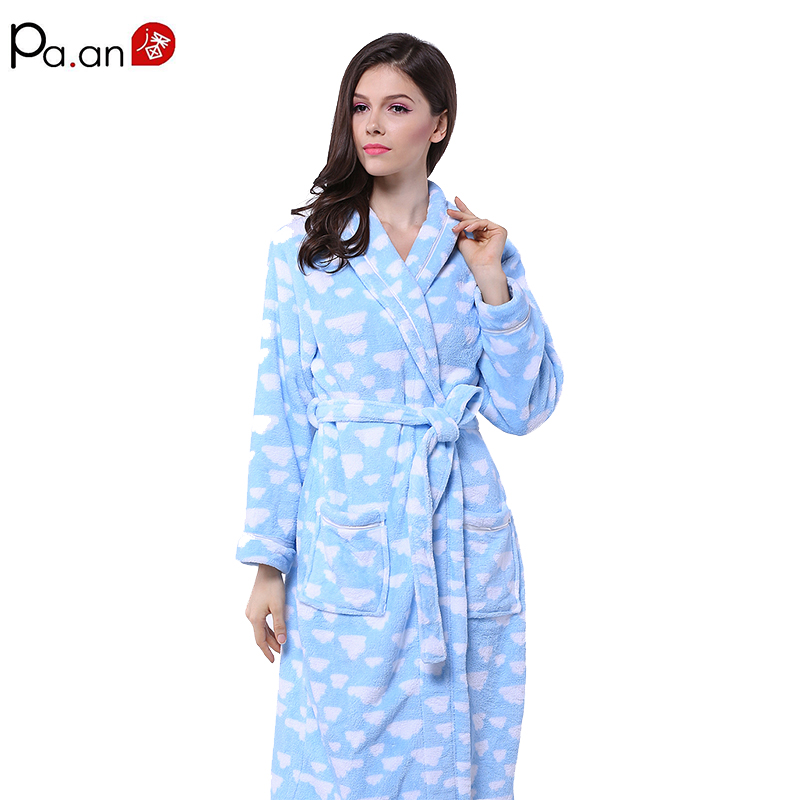 100 Flannel Womens Bathrobe Heart Pattern Printed Thick Adult Bath Towels Sleeping Wear Home