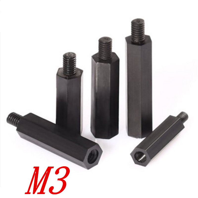 50PCS M3*L+6 L=5mm-40mm Black Hex Nylon Standoff Spacer Column male to female Nylon Plastic Spacing Screws 3 5mm male to 3 5mm female audio adapters golden black 5 pcs