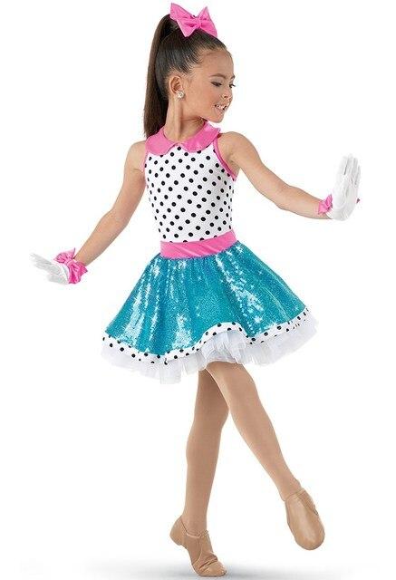 white lively polka dot for any performance ballet dress for children