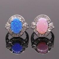 รูปแบบที่สวยงามรอบBuleสีชมพูโอปอลไฟและAAA Z Irconiaแหวน