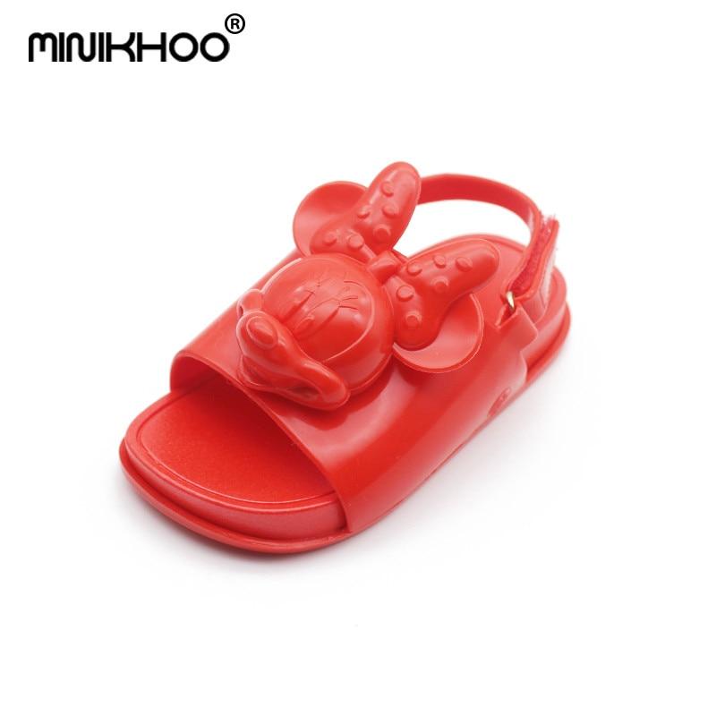 Mini Melissa 2018 New Red 3D Mickey Minnie Head Brazil Jelly Sandals For Baby Sandals Girls Beach Sandals Children Sandals
