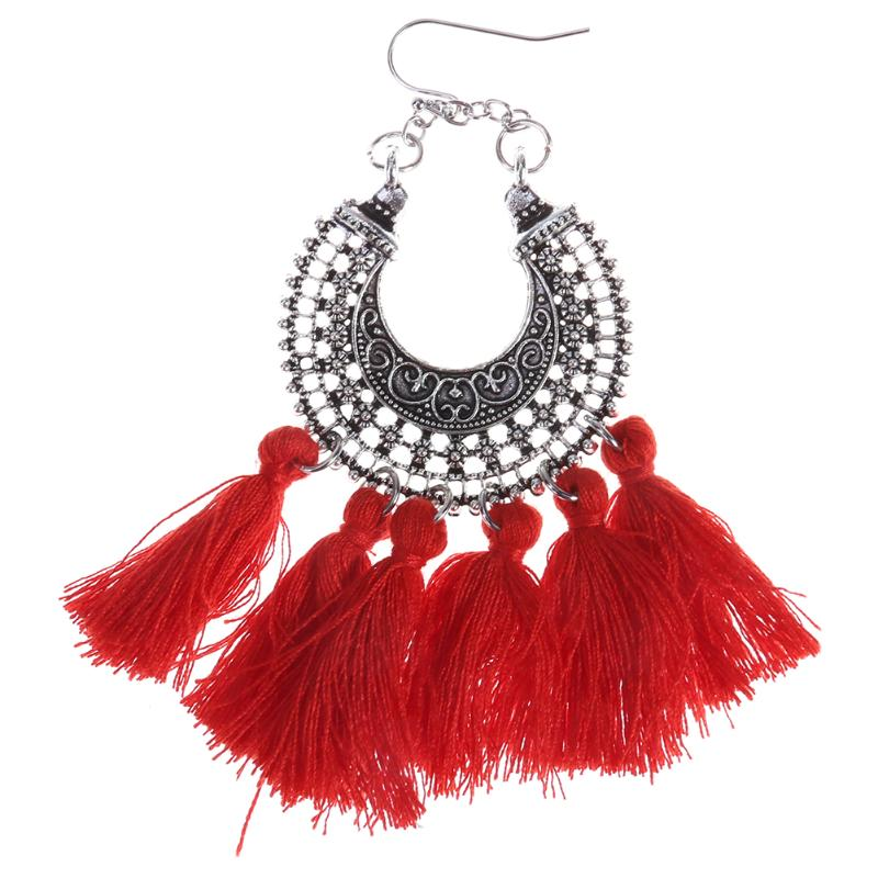 Fashion Bohemia National Style Tassel Fan Earrings Statement Retro Exaggerated Handmade Braided Silk Earrings Female Gift Party