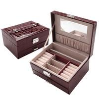 New type pu leather jewelry box Princess jewelery storage box High quality 6 color jewelry casket Gift box for woman gift