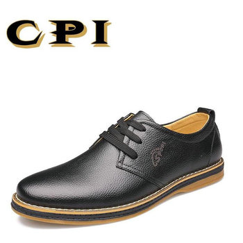 CPI 2017 New Fashion design men's casual leather shoes Breathable Comfortable soft Lace Up young flats Driving shoes   AA-06