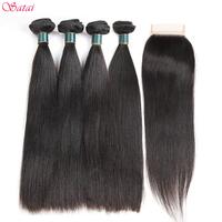 SATAI Straight   Hair   Human   Hair   Bundles   with     Closure   Natural Color 4 Bundles   With     Closure   Brazilian   Hair     Weave   Bundles Non remy