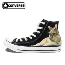 Ручная роспись Мужская обувь Converse оригинальный дизайн пользовательского Pet Cat холст кроссовки женщин бренд Скейтбординг обувь All Star