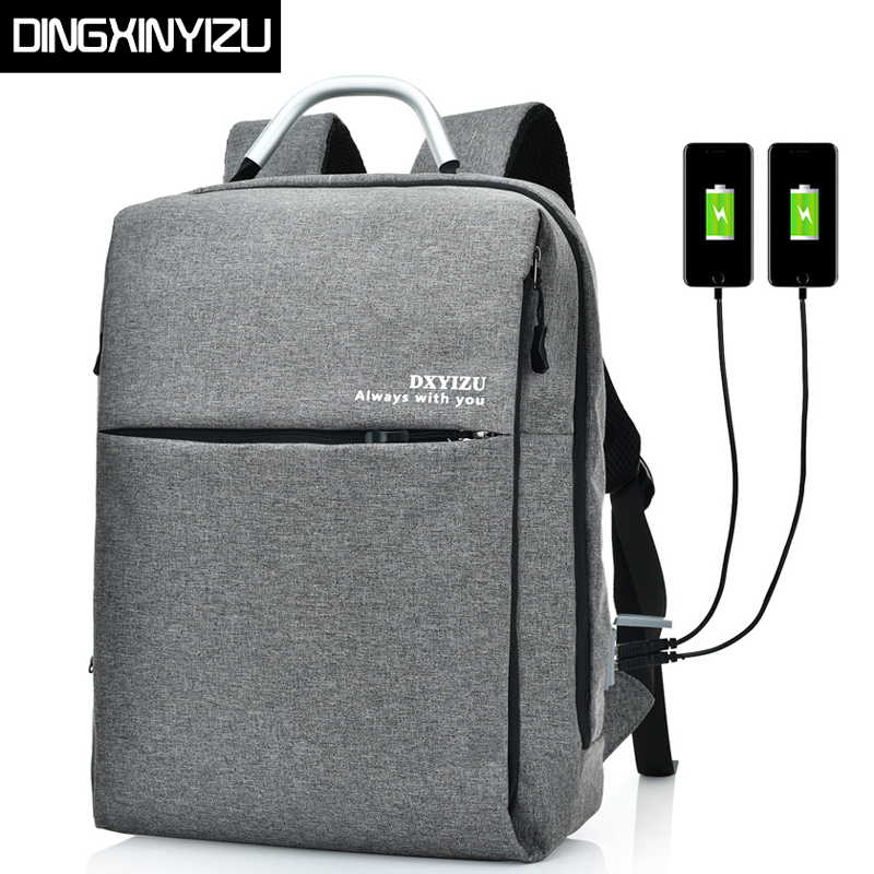 DINGXINYIZU Vintage Men Canvas Backpack Male USB Charge Laptop Student School Backpack for Teenager Women Casual Travel Rucksack chic canvas leather british europe student shopping retro school book college laptop everyday travel daily middle size backpack