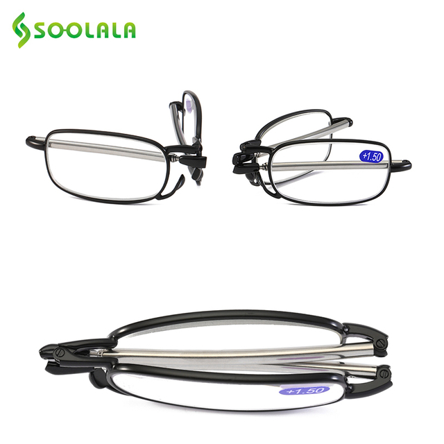 SOOLALA Womens Mens Metal Alloy Full Frame Folding Magnifying Compact Reading Glasses For Parents Cheap Reader w/Mini Hard Case