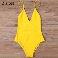 ZisioN 2017 New One Piece Swimsuit Women Sexy Swimwear Solid Color Women Swimming Suit Bodysuit Backless