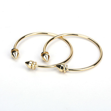 Chic Stylish Pure Gold Color Bullet Point End Bead Charms Adjustable Bracelet Open Bangle Cuff For