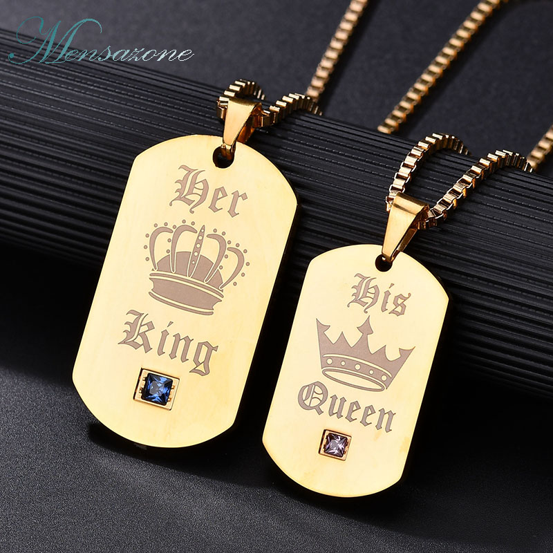 MENSAZONE Brand Popular CZ Stone Letter King Queen Lover Jewelry 316 L Stainless Steel Necklace For Women