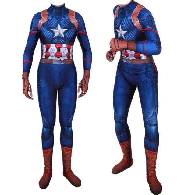 Adult Kids Captain America Cosplay Costume Superhero Printing Steven Rogers Zentai Bodysuit Suit Jumpsuits Halloween Costume