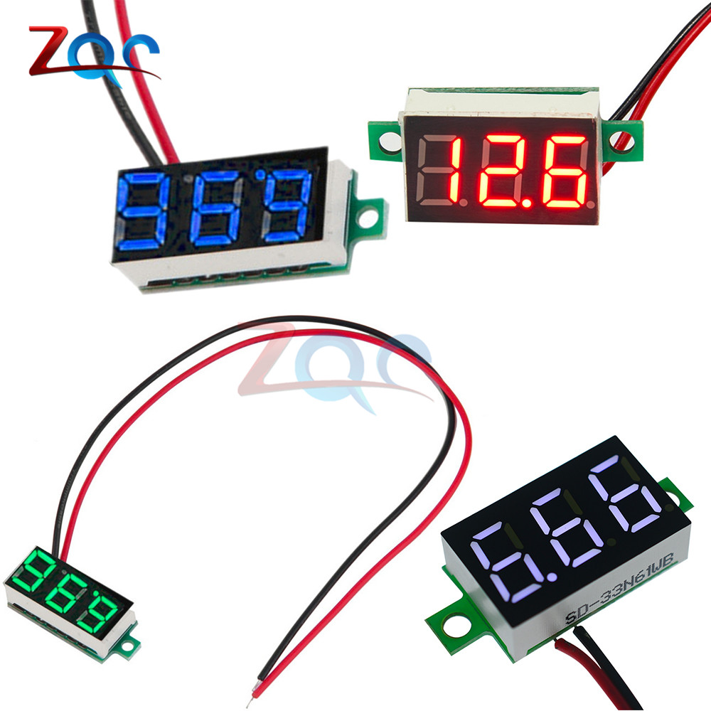 0.36 Inch 0.36'' DC 4.7-32V 3 Digit Display Voltmeter Mini LED Digital Panel Volt Voltage Meter Instrument Red/Blue/Gree/White 5pcs dc 6 12v measuring range 2 wire connect red led digit voltmeter