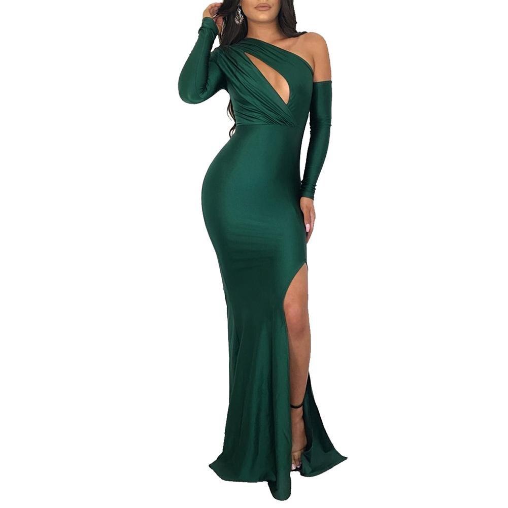 Оптовая продажа Вечеринка нерегулярные с длинным рукавом вырез для женщин Bodycon высокий разрез платье Макси