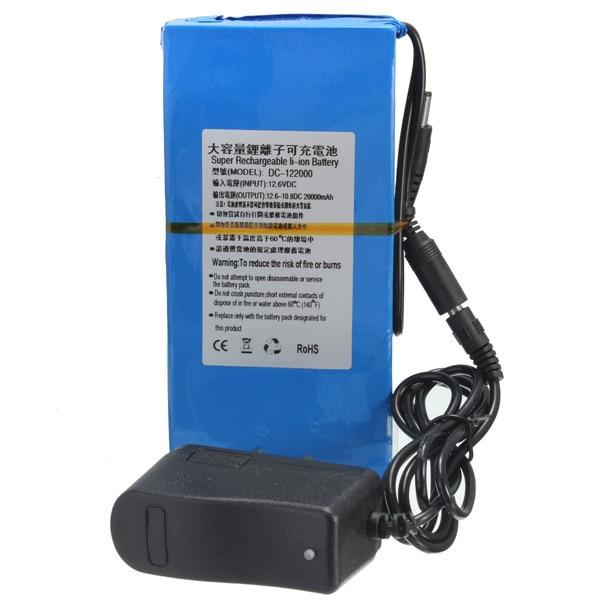 все цены на  High Quality D C 12V 20000mAh Li-ion Super DC 12V Rechargeable Battery Pack + AC Charger  US/EU Plug  онлайн