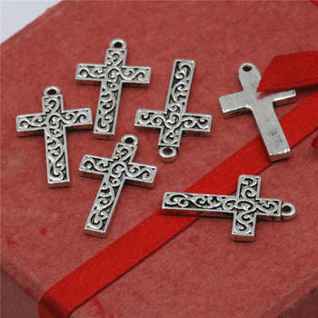10PCS Accessories Copper Metal Lucky Cross Kaddish DIY Loose Finding Pendant Necklace Alloy Women Jewelry Making Design 14x22mm image