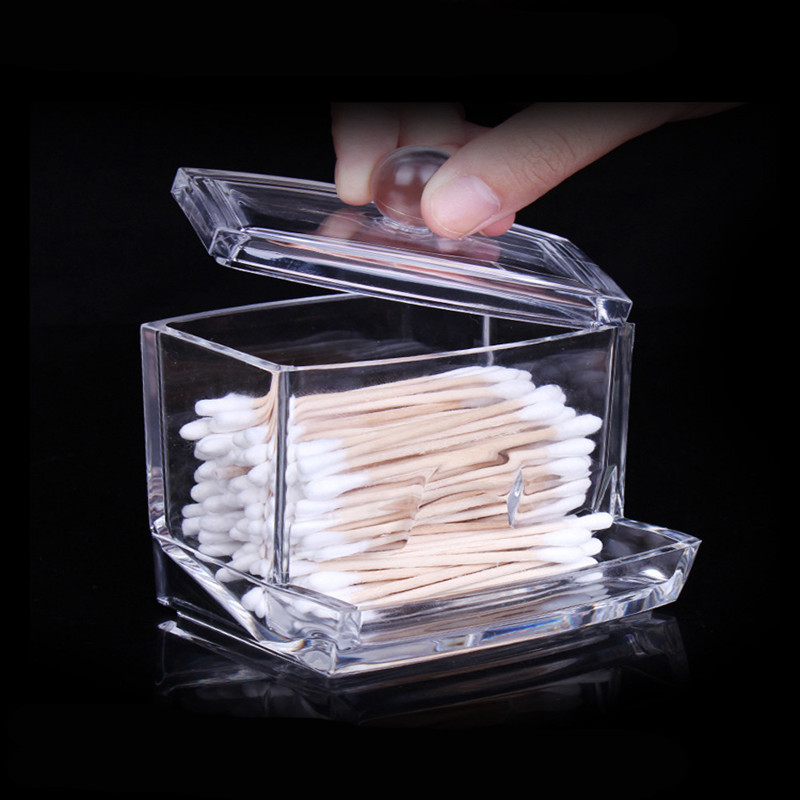 100PCS Storage Holder Box Cosmetic Makeup Case High Quality Clear Acrylic Cotton Swab Beauty Makeup Tools