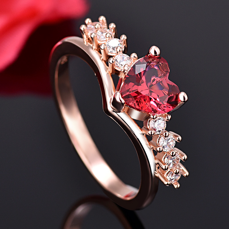 PRECIOUS RUBY RED HEART RING 6