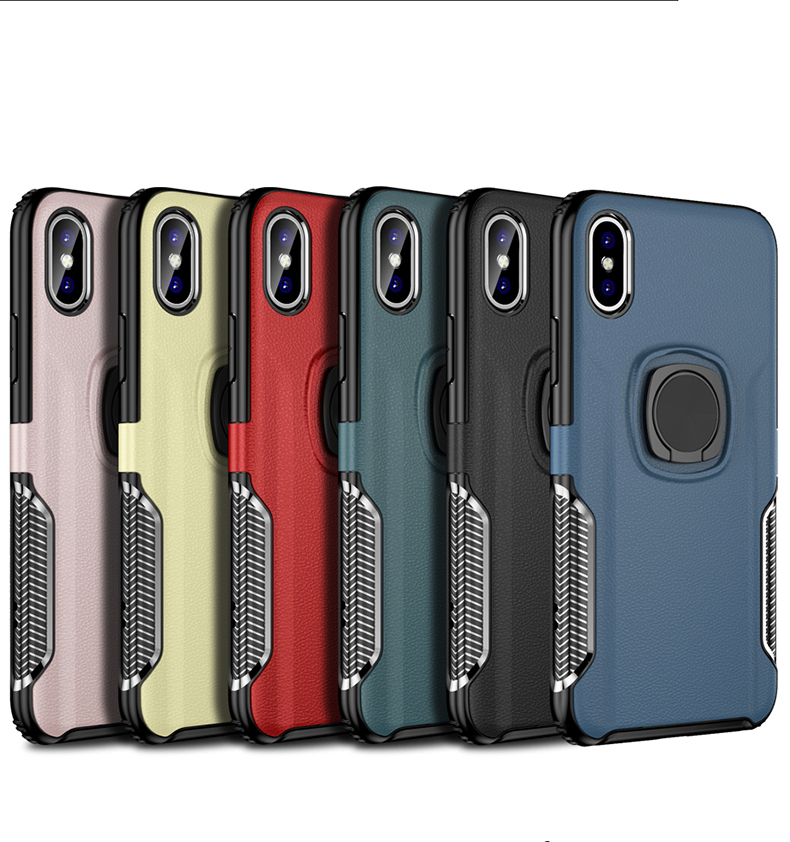 Luxury Leather texture Bracket case For iPhone x xs max xr Shockproof armor cover For iphone 6 6s 7 8 plus case with ring holder (2)