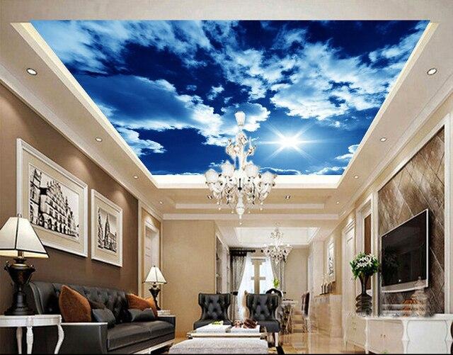 Personnalis papier peint au plafond soleil nuages for Fond plafond salon