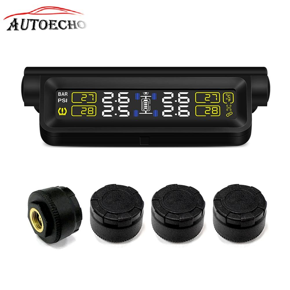 Smart Car TPMS Tire Pressure Monitoring System USB Solar Energy TFT Display Tyre Pressure External Sensor Auto Alarm System giantree external car automotive tire pressure monitoring system tpms solar energy alarm abnormal car alarm
