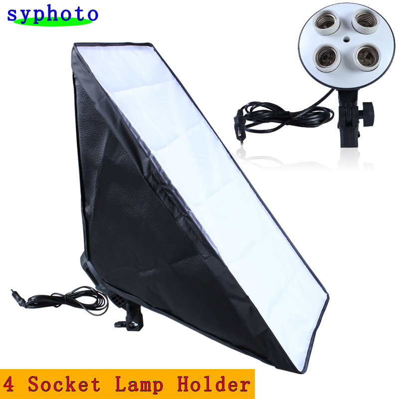Free Tax To Russia 110-240v Photography 4 Socket Lamp Holder With 50*70cm Continuous Lighting Softbox not include Light Stand