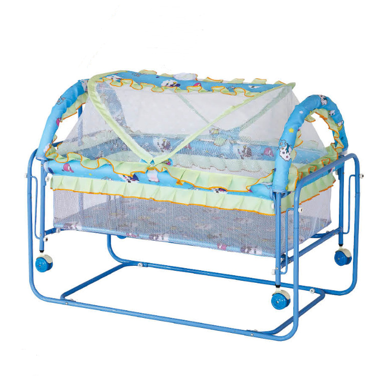 Baby Iron Metal Crib Swing Bed with Roller Rocking Crib Game Bed Foldable Baby Crib with Wheels Mosquito Net Baby Playpen Bed цена