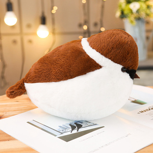 Image 5 - Sparrows Family Plush Toy Flying Brown Bird Lifelike Tree Animals Stuffed Doll with Nest Kids Comforting Gift
