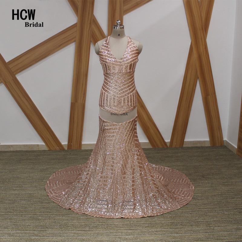 Искрящо русалка с пайети с дълги вечерни рокли 2019 Нов дизайн без гръб арабски официални парти рокли Секси ружови розови вечерни рокли
