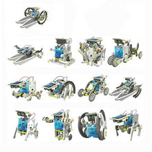 13 in 1 Robot Kits Children DIY Solar Powered Toys Transformation Robot Kit Creative Educational Toys for Child Birthday Gift(China)