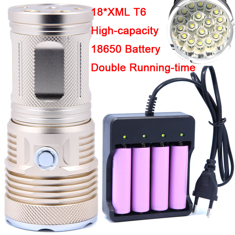 2018 New 40000LM 18 x XM-L T6 LED 3 Modes Flashlight Torch 4 x 18650 Hunting Lamp Super bright High Quality 18650 Battery цена