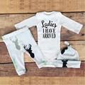 3pcs /set  Newborn Baby Boy Girls Clothing Sets  Antlers printing  Cotton Cap & long sleeve Romper Jumpsuit &pants