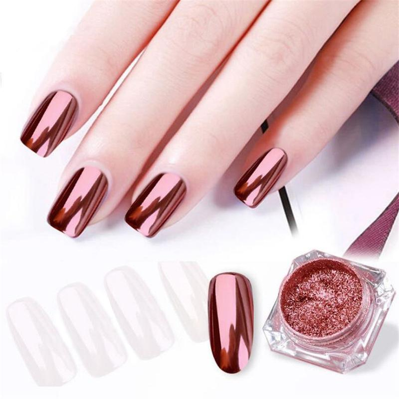 10 Elegant Rose Gold Nail Designs: BellyLady Elegant Rose Gold Nail Mirror Powder Nail