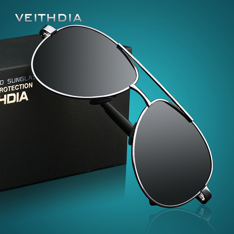 VEITHDIA mannen Zonnebril Merk Designer Pilot Gepolariseerde Mannelijke Zonnebril Brillen gafas oculos de sol masculino Voor Mannen 1306