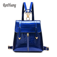 RanHuang Women PU Leather Backpack High Quality Patent Leather Fashion Backpack School Bags For Teenagers Girls