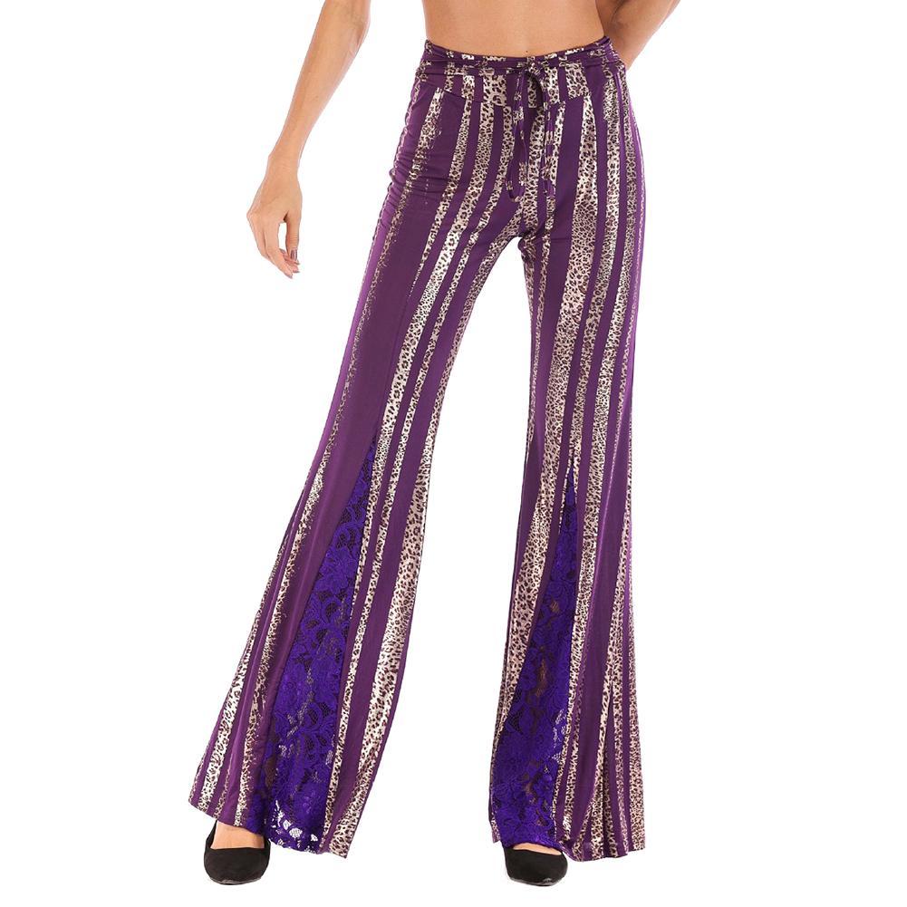 new Nightclub High Waist Wide Leg Pants Women Metallic Stripe Leopard Long Trousers