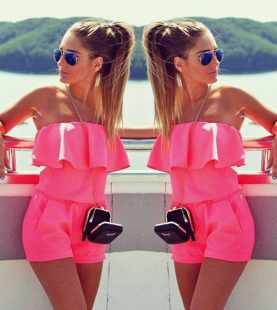 Woman Jumpsuit Summer 2020 Fashion Slash Neck Flounced Womens Short Jumpsuits Candy Color Sexy Rompers