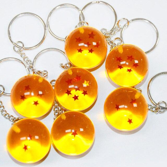 Encantos de Resina Anéis Chave Chaveiro Presente Da Jóia Trinket Novo Classic Toys Anime Dragonball Goku Bola Dragão De Quatro estrelas Da Corrente Chave
