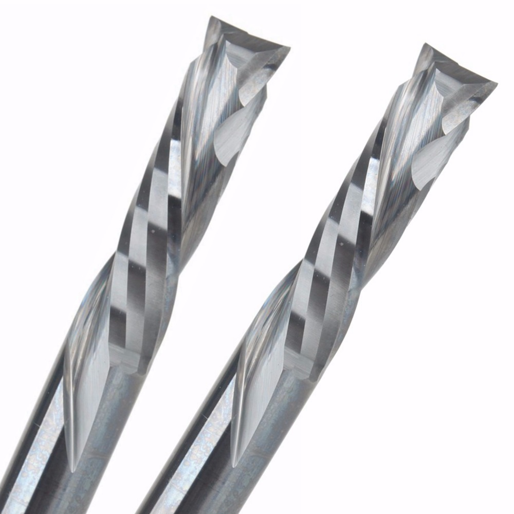 2Pcs 5x22MM AAA Up Down Cut- 2 Spiral Flute Carbide Mill,CNC Milling Cutter,Woodworking Cutting Tools Router Bit