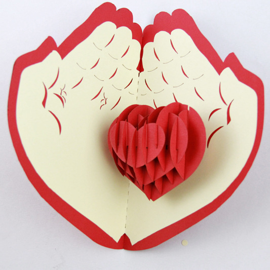 5p Lot Heart In Hand Design Hand Shaped Card Hand Made Craft Post