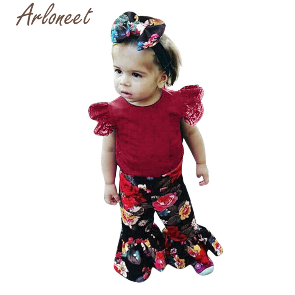 floral pants girl Baby clothes Toddler kids girls baby girls cotton lace top