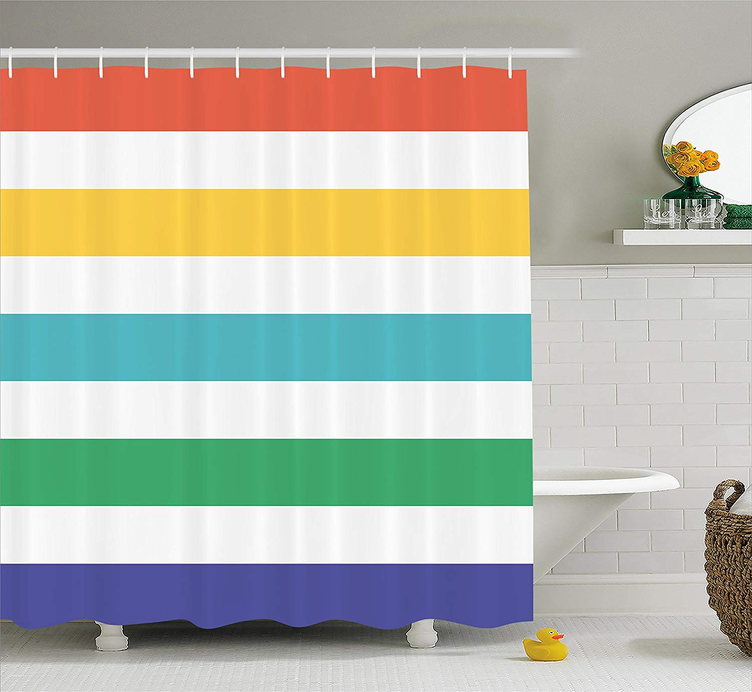 Striped Shower Curtain Rainbow Colored And White Fun Horizontal Lines Kids Room Red Yellow Blue Green Fabric Bathroom Decor