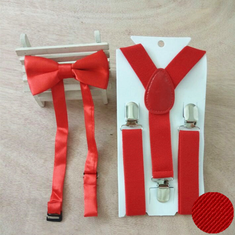 LB001- S Size Hot Sale Solid Color Kids Supenders And  Bowtie Sets For Baby Y-back Braces For Wedding 100sets/lot