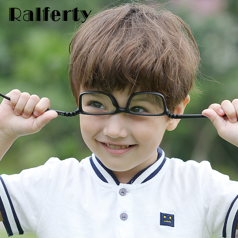 Ralferty Kids Child Glasses Frame Flexible TR90 Silica Gel Eyeglasses With Lanyard Myopia Optic Glasses Spectacles Frame K306