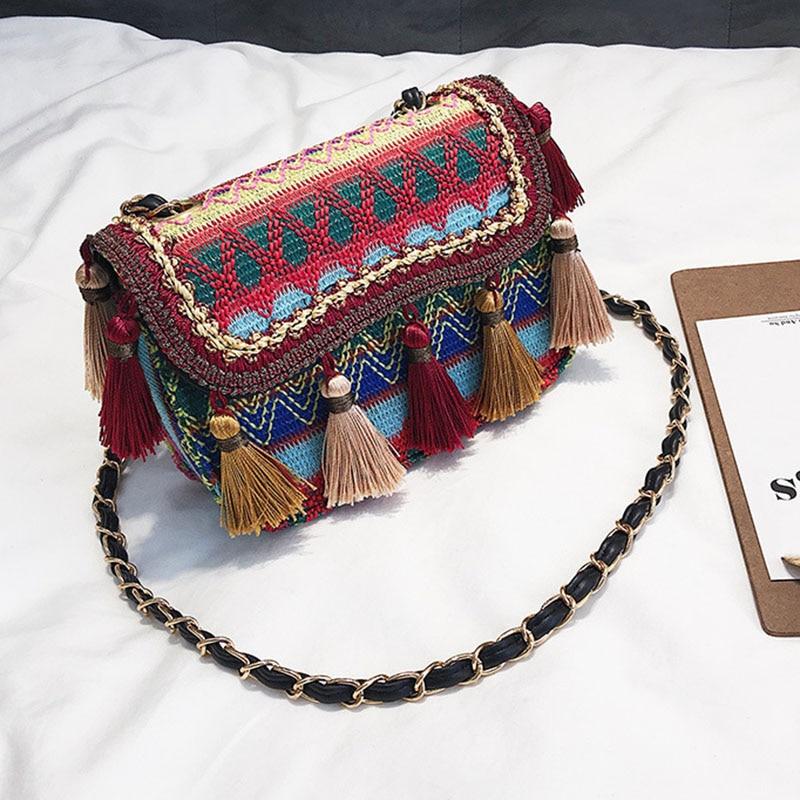 New Women Tassel Fashion Straw Bag INS Popular Female Summer Handbag Chains Lady Casual Shoulder Bag Beach Knit Crossbody SS3307 (11)
