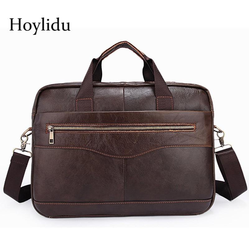 New Genuine Leather Briefcase Casual Business Mens Travel Shoulder Bags Large Capacity Laptop Messenger Bag Male Fashion Handbag все цены