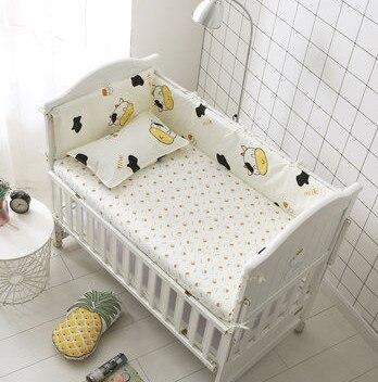 6pcs Cow crib bumper bed sheet baby care protetor de berco sets Cot Bumper protector Newborn(4bumpers+sheet+pillow cover)