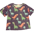 2016 summer style fashion t shirt women Harajuku crop tops cute little cartoon dinosaur covered loose t-shirt camisetas y tops