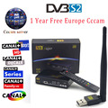 1 Ano Livre Europa Cccam Cline HD TV Digital Via Satélite powervu Freesat V8 Super HD Suporte CCcam DVB-S2 decodificador Youtube + USB wi-fi